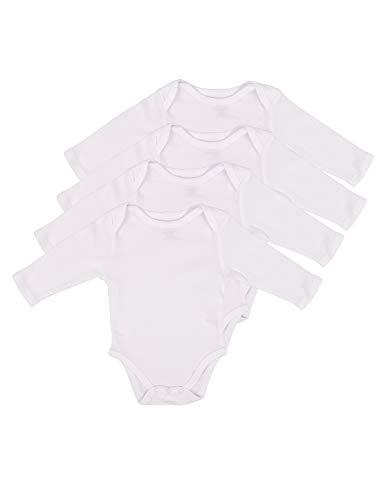 Leveret 4 Pack Long Sleeve Bodysuit 100% Cotton White 6-12 Months