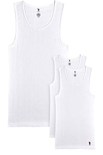 U.S. Polo Assn. Men's Big and Tall White A-Shirt Tank Tops (3 Pack), White, Size 2XLT'