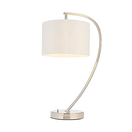 Endon Josephine - Lámpara de mesa con 1 luz, níquel brillante, seda sintética blanca vintage, E14
