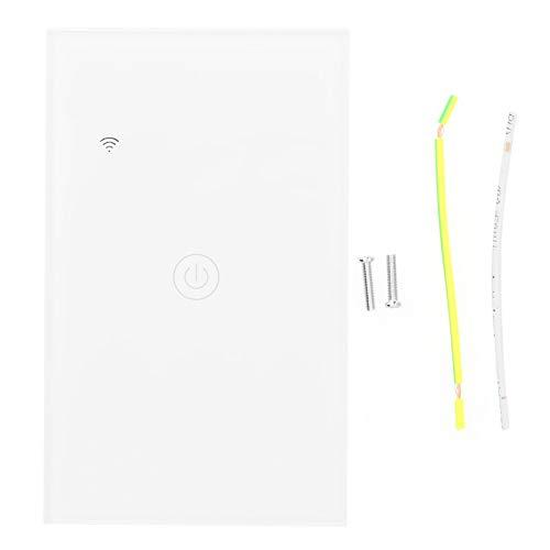 Interruptor WiFi inteligente, Interruptor inteligente de control de teléfono, Interruptor inteligente WiFi montado en la pared, Panel táctil de vidrio templado Interruptor inteligente 100-240V CA