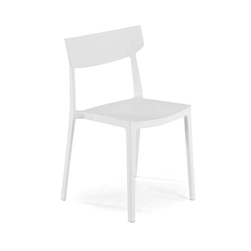 Ofiprix Silla Folk Silla Confidente Silla de Colectividad Silla de Exterior 4 Patas Color Blanco ✅