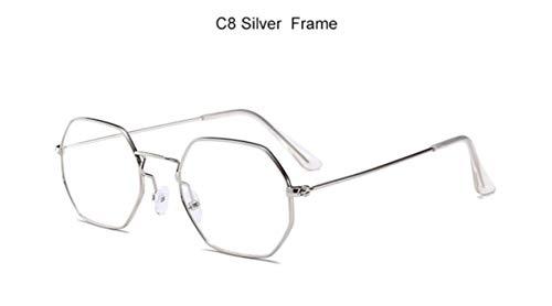 Yhui Hexagon zonnebril vrouwen klassieke Flat Lens Clear Zonnebril mannen mannelijke retro kleine metalen frame zonnebril vierkant glas