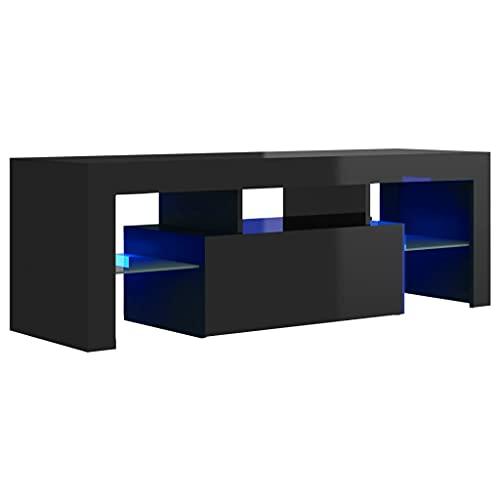 vidaXL TV Schrank mit LED-Leuchten Lowboard Fernsehschrank Fernsehtisch Sideboard HiFi-Schrank TV Möbel Tisch Board Hochglanz-Schwarz 120x35x40cm