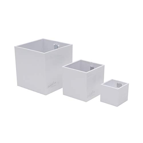 KalaMitica 60369-900-001 Set de 3 Cubes Magnétiques, résine ABS, Blanc, Diamètre 3,5 cm, 6 cm, 9 cm