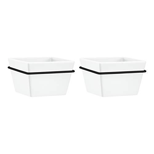AmazonBasics Wall Planter, Square - White/Black (2-Pack)