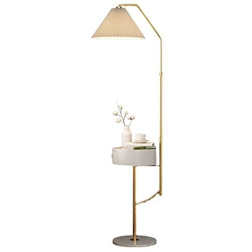 Lámpara de pie Moderno Simple LED, Estante Creativo, lámpara, lámpara de Estar, sofá, Dormitorio, mesita de Noche, lámpara de pie. (Color : Gold)