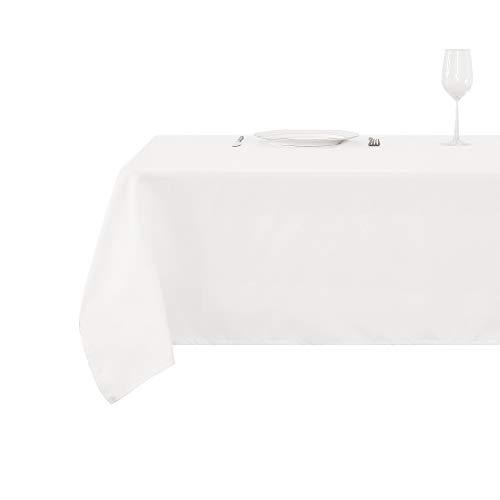 Deconovo Tischdecke Wasserabweisend Tischwäsche Tischtücher 140x240 cm Elfenbein