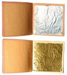 sim gold leaf Premium Set of 10 Gold + 10 Silver Leaf Sheets 24K, 1.4'' x 1.4'' Edible Gold Sheets &1.6'' x 1.6'' Silver Sheets for Your Baking, Arts, Crafts, Decoration & Restoration Projects