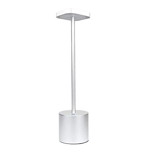Lámpara de mesa, lámpara de mesa inalámbrica, lámpara de mesa de aleación de aluminio, lámpara de mesa impermeable IP54, adecuada para restaurante/bar/mesita de noche/jardín plata
