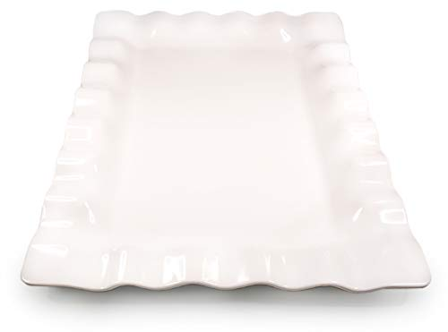 White Melamine Scalloped Serving Platter - Beautiful but Safe Turkey Platter Serving Tray - White Rectangle Platter - Shatterproof and Safe for Dishwasher and Microwave - 19