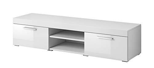 E-Com - TV-Lowboard Fernsehschrank Fernsehtisch Paris - 140 cm - Weiß