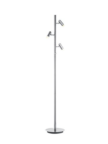 Trio Leuchten LED Stehleuchte Zidane 478610307, Metall Nickel matt, 3x 4.5 Watt