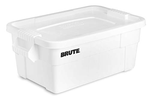 Cheap Rubbermaid Commercial Products Brute Tote Storage Container with Lid, 14-Gallon, White (FG9S30...