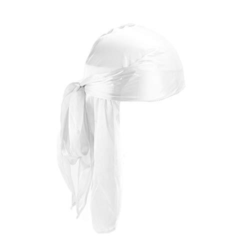 Vokmon Hombres de Las Mujeres de la Cola Larga Mujeres Sombrero Unisex de la Venda de la Tapa Posterior del Casquillo del Estilo étnico de poliéster Transpirable Sombrero, Blanca