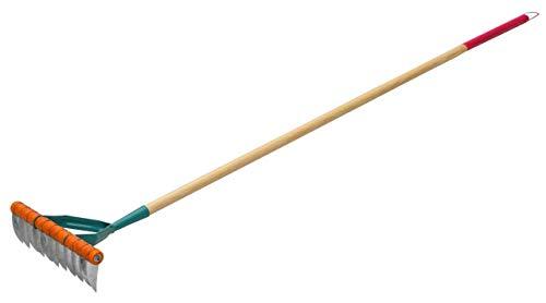 KADAX Rasenlüfter für Damen, manueller Vertikutierer aus Stahl, Kultivator mit Stiel aus Holz, Schneidrechen, Handvertikutierer, Gartengerät für Aeration, Rasen, Moos, Rasenbelüfter (Einseitig)