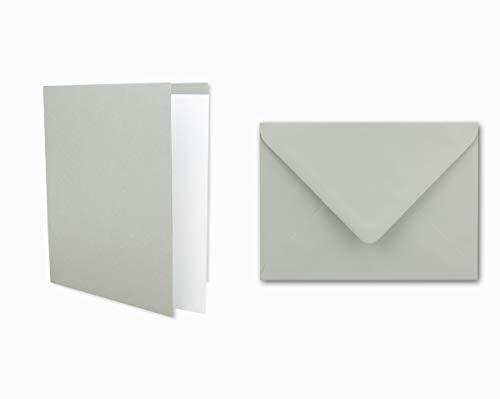 25x Einladungskarten Set inklusive Briefumschläge & extra Einlegeblätter - Blanko Klapp-Karten in Hellgrau im DIN A6 Format - speziell zum Selbstgestalten & Kreieren