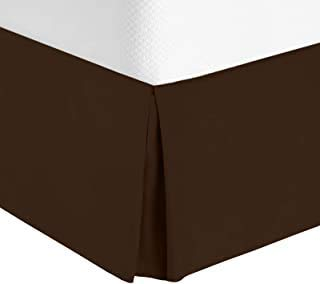 HOMETALE Egyptian Cotton 600 Thread Count Solid Style Bedskirt 17 inch Tailored Drop Wrinkle and Fade Resistant (Queen Color Chocolate)