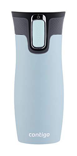 Contigo Unisex-Adult West Loop Autoseal Thermobecher, Edelstahl Isolierbecher, Kaffeebecher to Go, BPA frei, auslaufsicherer Reisebecher mit Easy-Clean-Deckel, hält bis zu 5h warm, 470 ml, Iced Aqua