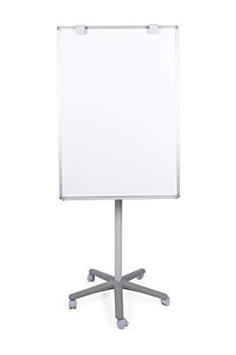 BoardsPlus Caballete movil, superficie lacada magnetica, adecuado para rota folios marco en aluminio anodizado, 70 x 100 x 180 cm