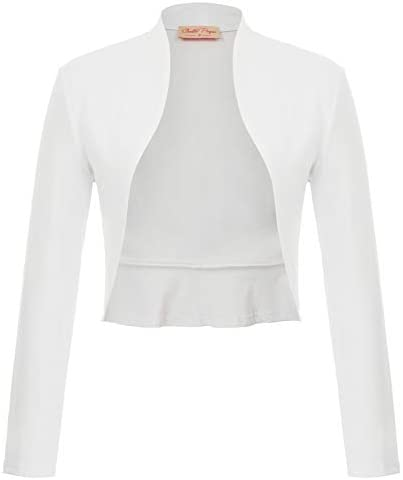 Belle Poque Women s White Shrug Bridal Bolero Cardigan for Evening Dress Open Front Jacket Coat product image