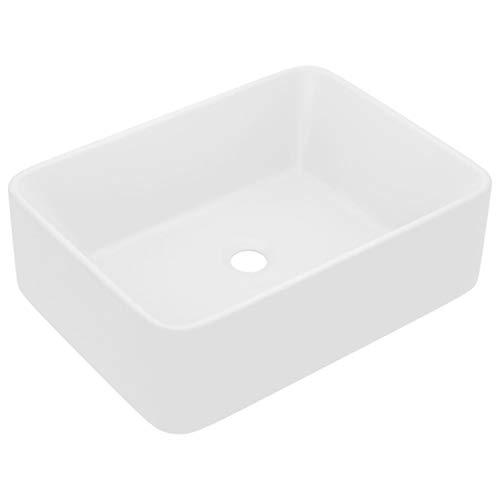 vidaXL Luxus Waschbecken mit Abflussloch Waschtisch Aufsatzwaschbecken Waschplatz Handwaschbecken Aufsatzwaschtisch Matt Weiß 41x30x12cm Keramik