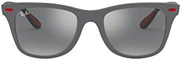 Ray Ban unisex adult Rb4195m Scuderia Ferrari Collection Wayfarer Sunglasses Matte Grey Grey product image