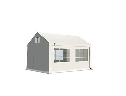 KC Partyzelt 3x4 m Pavillon Zelt 240g/m² - PE Plane - Gartenzelt Festzelt Bierzelt - Rahmen aus Stahl - Inkl. Seitenwände & Giebelwände - Weiß