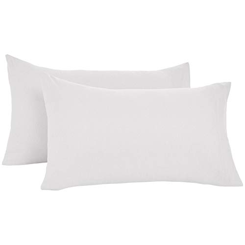 Amazon Basics - Funda de almohada de microfibra, juego de 2 unidades, 50 x 80 cm - Gris claro
