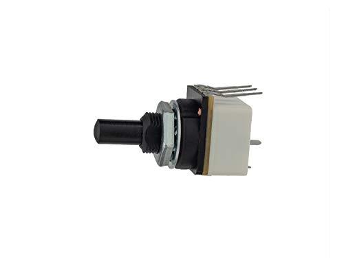 Interruptor activado por empuje (10 A) con potenciómetro giratorio de 10 Ka, lineal, 0,25 W – Montaje en panel con terminales extralargos para conexión PCB