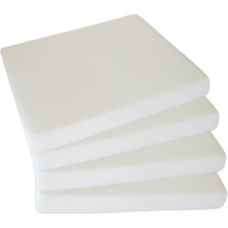 4-Pack White Upholstery Foam Seat Cushion Inserts; Square 2' x 16' x 16' Foam Tiles Project Foam, Pillows, & DIY Home Décor