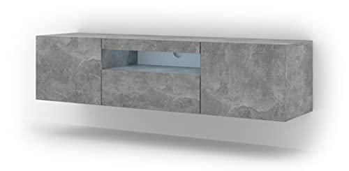 Aura - Mueble para televisor (150 cm, para colgar o de pie, universal, para televisión, mesa de alta fidelidad, hormigón con LED)