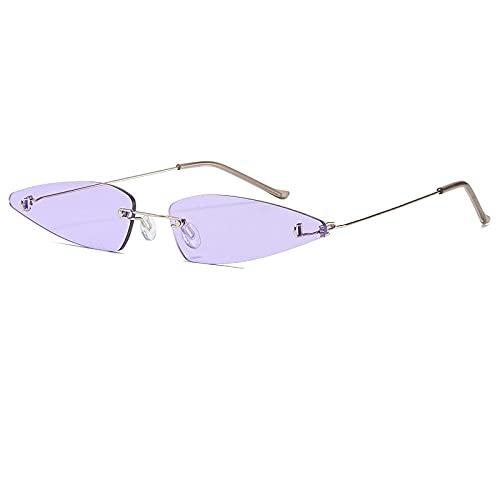 DLSM Pequeñas Gafas de Sol sin Montura Mujeres Gafas de Sol de Ojo de Gato para Mujer Personalidad Triángulo Aleación Marco de Vidrio UV400 Adecuado para la conducción de la Fiesta-C5