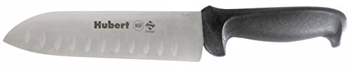 Hubert 7' Santoku Style Chef's Knife - NSF Certified, Anti-Microbial Handle for Food Service - Granton-Edge For Reduced Friction - Comfortable Ergonomic Handle - Stainless Steel