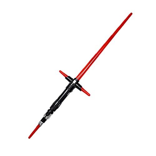 MOMAMOM Star Wars Sable Láser Extensible De Kylo REN Doble Hoja Led Y Sonid Espadas Laser De JugueteLáser Telescópicas Sable Luz Sabre Láser RetráctilExtensibles Plegables Niños Red