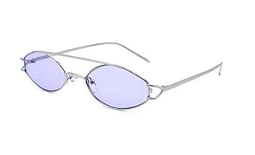 LAMZH Gafas de sol de moda elípticas gafas de sol retro doble punk personalidad gafas de sol accesorios (color: F)