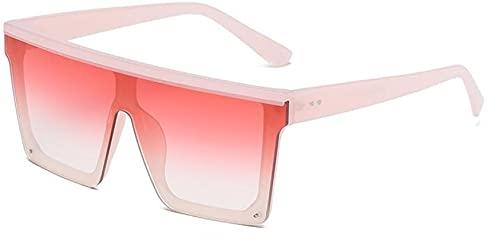 Moda Gafas De Sol Cuadradas De Gran Tamaño Mujeres Hombres Marca De Lujo Gafas De Sol con Tapa Plana Gafas De Sol Espejo De Sombra Uv400 Rosa