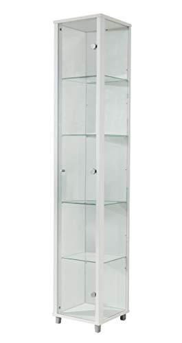 BR-Wohndesign Glasvitrine 172x32x33 cm in Weiss mit 4 Glasböden, perfekt für Sammler