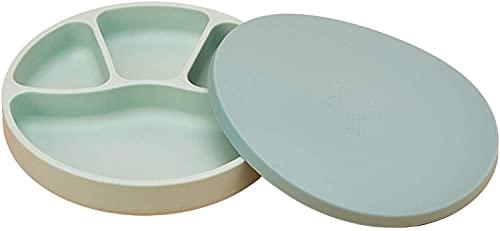 hwljxn Baby Silikon Saugnapf Dinner Plate Baby Nahrungsmittelergänzungsschale mit Deckel Infant Kleine Trennwände Anti-Drop Geschirr Kinderteller (Color : Green)
