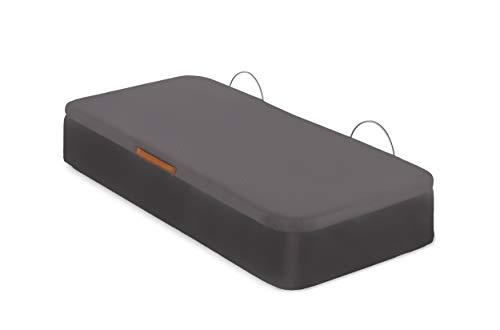 Canapé Tapizado | Apertura Lateral | Tapa Tejido 3D | Arcón Polipiel | Bombines Hidráulicos |Fabricado en España | Envío y Montaje Gratis (90 x 190 cm, Schoko)