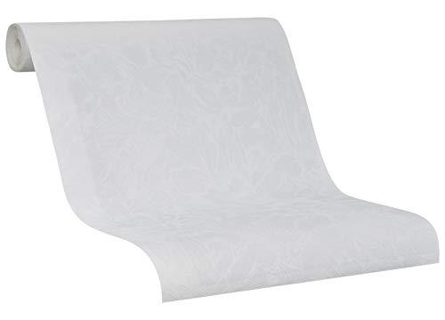 Tapete Weiß - Vliestapete Bouquet - 2020 SCHÖNER WOHNEN Kollektion - Weiße Struktur - für Schlafzimmer, Wohnzimmer oder Küche - 10,05m x 0,53m - Neu