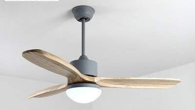 CLJ-LJ Ventiladores de techo con luces para sala de estar remoto ventilador de techo lámpara Nordic Ventilateur ventilador de refrigeración luz (color del cuerpo: D122 x H56 cm gris)