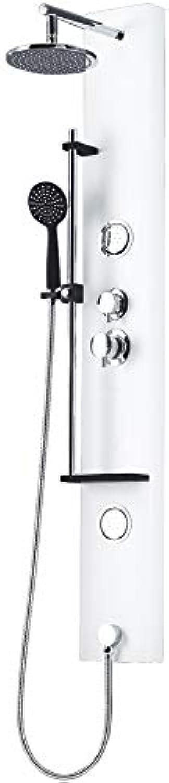 Schwarz Wei Weiss Duschpaneel Aluminium Regenduschkopf Massage Sanlingo Seifenablage