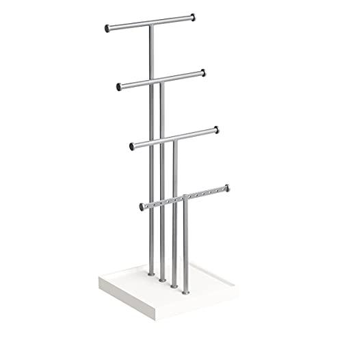 Amazon Basics - Joyero de cuatro pisos con forma de árbol, blanco/níquel