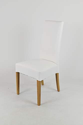 Tommychairs - Set 4 sillas Luisa para Cocina, Comedor, Bar y Restaurante, solida Estructura en Madera de Haya Color Roble y Asiento tapizado en Polipiel Blanco