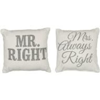 Primitives by Kathy Mr. and Mrs. Right Pillow, 10.25-Inch by 10.25-Inch, Set of 2