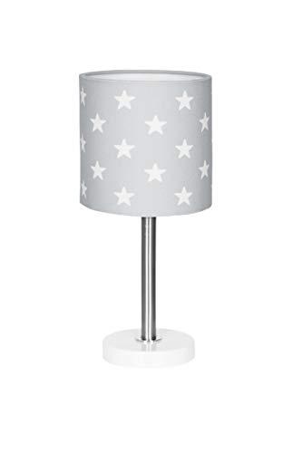 Nachttischlampe Kinderzimmer Tischleuchte mit Sternen in Silber grau Weiss, 15 x 15 x 35 cm, E27, 60 Watt, 230Volt