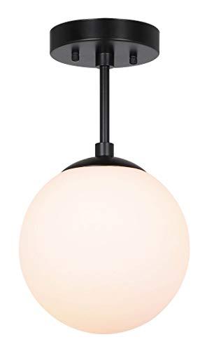 XiNBEi Semi Flush Light 1 Light Semi Flush Mount Plafondlamp, Globe Plafondlamp Matzwarte afwerking voor woon- en eetkamer XB-SF211-MBK