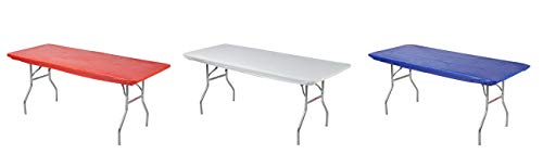 Kwik-Covers Rectangular Fitted Plastic Table Covers, 6' x 30' (6 Feet), Red, White, Blue