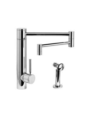 For Sale! Waterstone 3600-18-1-SB Hunley Kitchen Faucet - 18 Articulated Spout w/Side Spray Satin B...