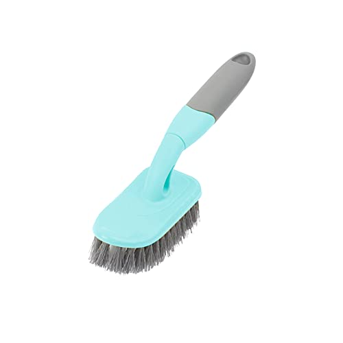 KUFUNG Scrub Brush, Cleaning Shover Scrubber with Ergonomic Handle and Durable Bristles for Bathroom Shower Sink Carpet Floor (9 inch, Blue)